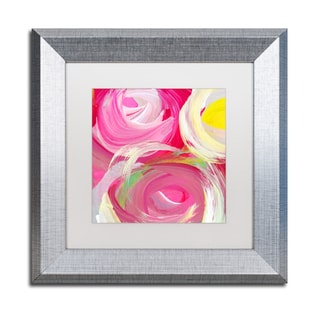 Amy Vangsgard 'Rose Garden Circles Square 4' Matted Framed Art