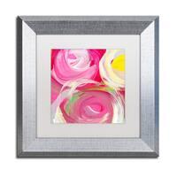Amy Vangsgard 'Rose Garden Circles Square 4' Matted Framed Art