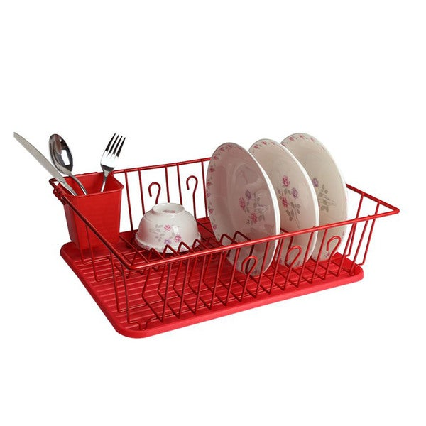 Mega Chef Red Stainless Steel/Plastic Dish Rack  sc 1 st  Overstock.com & Mega Chef Red Stainless Steel/Plastic Dish Rack - Free Shipping On ...