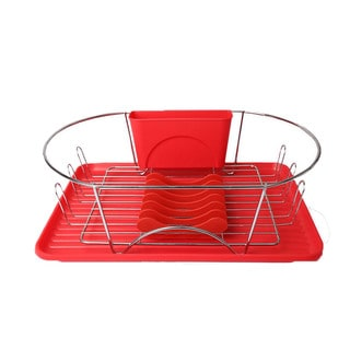 mega chef red and silver enamel finish 17inch dish drying rack