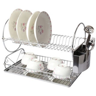 Mega Chef Chrome Plated Iron Wire 17.5-inch 2-shelf Dish Rack