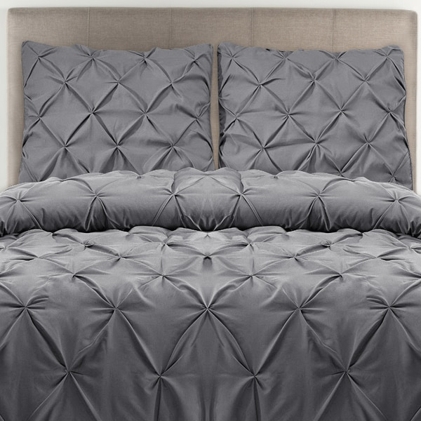 Percale Pleated 200 Thread Count Cotton 3-piece Duvet Cover Set