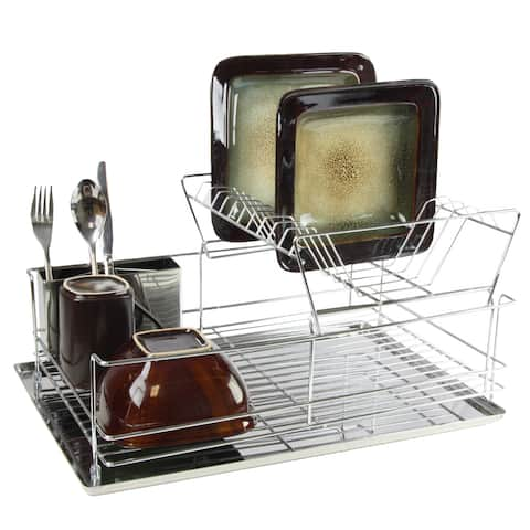 Mega Chef 15.5-inch Stainless Iron Shelf Dish Rack