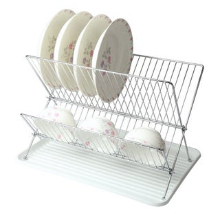 Mega Chef White Wire Dish Rack with Plastic Tray