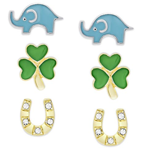 Molly and Emma Sterling Silver Cubic Zirconia and Enamel Stud Earrings Set
