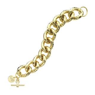 Isla Simone - 18 Karat Gold Electro Plated Hammer Textured Link And Chain Bracelet