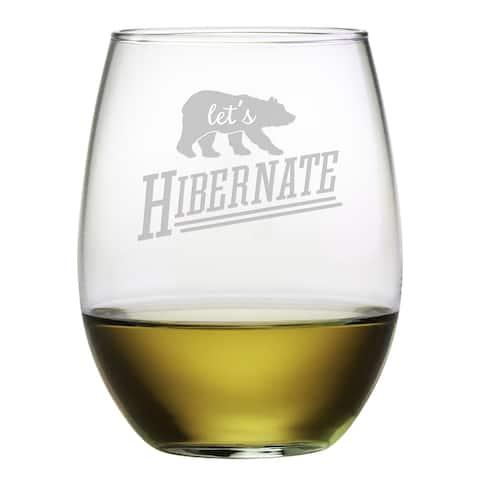 Let's Hibernate Stemless Wine Glass (Set of 4)