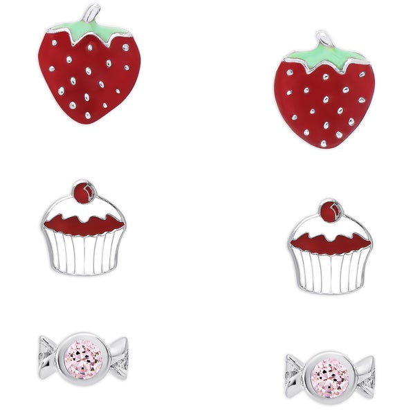 Molly and Emma Sterling Silver Enamel and Crystal Stud Earrings Set - Multi
