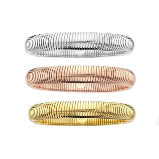 Isla Simone - 18 Karat Gold, Rose Gold, and Fine SIlver Electro Plated Set Of Turbogas Slip On Bangl
