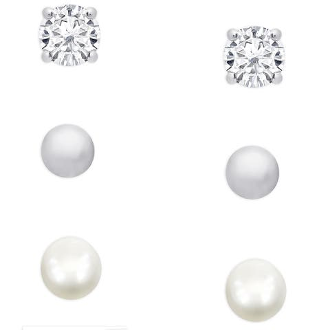 Molly and Emma Sterling Silver Pearl, Cubic Zirconia and Ball Stud Earrings Set