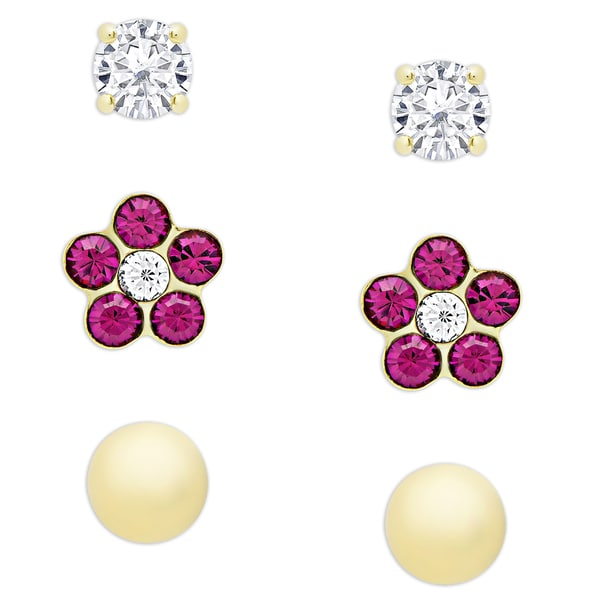 Molly and Emma Sterling Silver Cubic Zirconia, Crystal and Ball Stud Earrings Set. Opens flyout.