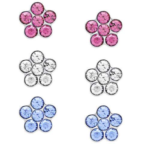 Molly and Emma Sterling Silver Crystal Flower Stud Earrings Set