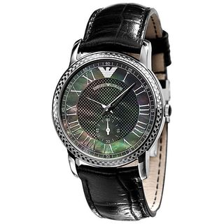 Emporio Armani Women's AR0468 'Classic' Black Leather Watch