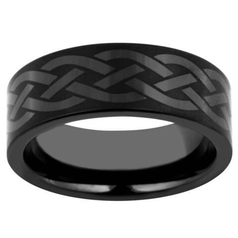 Black Ceramic Men's Celtic Knot Band