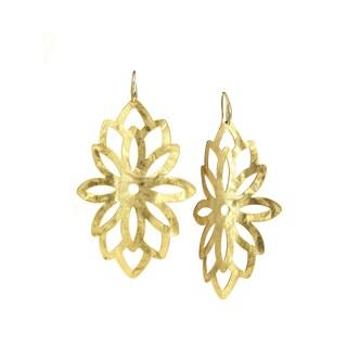 Isla Simone - 18 Karat Gold Electro Plated Large Blossom Hanging Earring