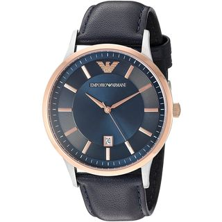 Emporio Armani Men's AR2506 'Dress' Blue Leather Watch