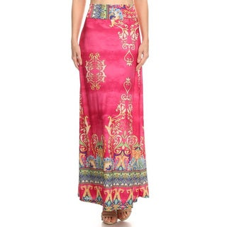 Women's Polyester Multicolor Paisley Maxi Skirt