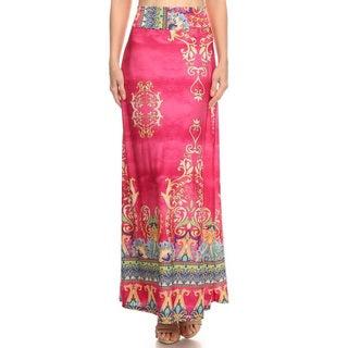 Women's Polyester Multicolor Paisley Maxi Skirt