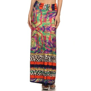 Women's Paisley Animal Multicolor Polyester and Spandex Maxi Skirt