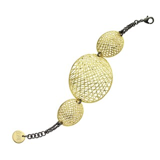 Isla Simone - 18 Karat Gold Electro Plated And Black Rhodium Plated Oval Mesh Disc Bracelet