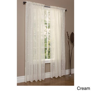 Hathaway Habitat White Scroll Embroidered Window Curtain Panel