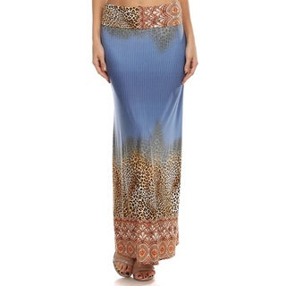 Women's Multicolor Polyester and Spandex Animal Bottom Maxi Skirt