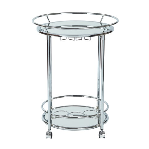 Silver Orchid Rita Serving Cart with Chrome Finish