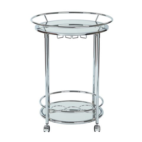 Silver Orchid Rita Serving Cart with Chrome Finish - N/A