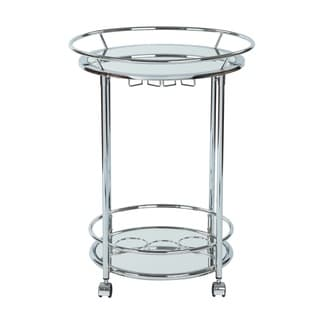 Royse Serving Cart with Chrome Finish