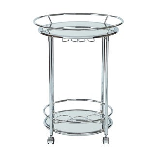OSP Home Furnishings Silver Orchid Rita Serving Cart with Chrome Finish