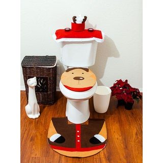 Christmas Bathroom Toiler Cover And Rug Set - 4 Pc Reindeer Bathroom Set