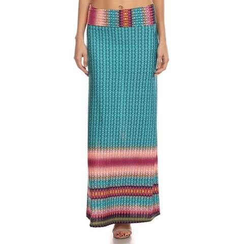 Women's Multicolor Polyester and Spandex Geometric Maxi Skirt