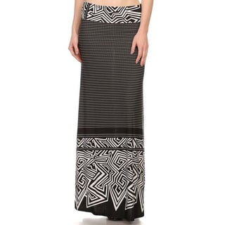 Women's Multicolor Polyester and Spandex Ornate-pattern Maxi Skirt