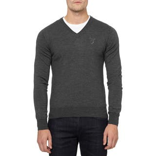 Versace Collection Grey Wool V-neck Medusa Sweater|https://ak1.ostkcdn.com/images/products/12971500/P19719984.jpg?impolicy=medium