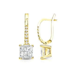 Auriya 14k Gold 1 1/2ct TDW Princess Cut Diamond Dangle Stud Earrings