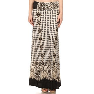 Women's Multicolored Polyester/Spandex Ornate-pattern Maxi Skirt