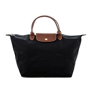 Longchamp Le Pliage Black Nylon Foldable Shoulder Tote Bag