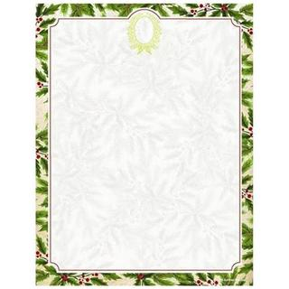 Red, Green and White Paper Holly Wreath Foil Holiday Stationery (Case of 40)