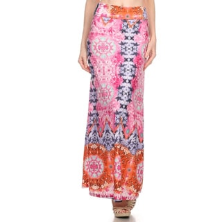 Women's Multicolor Polyester and Spandex Ornate Maxi Skirt