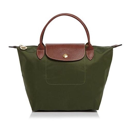 Longchamp Le Pliage Green Nylon Small Foldable Shoulder Tote Bag
