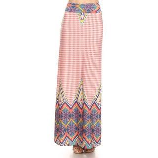 Women's Polyester Multicolor Ornate Maxi Skirt