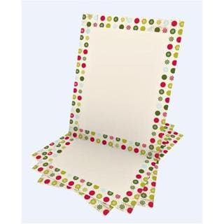 Gartner Studios Polka Dot Snowflakes Red, Green, and White Paper Holiday Stationery (Case of 25)