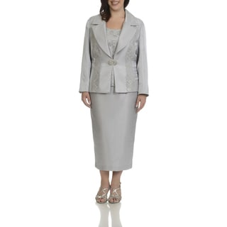 Giovanna Signature Women's Plus-size White/Black/Silver Polyester and Rayon Lace and Sequins Trim 3-piece Skirt Suit
