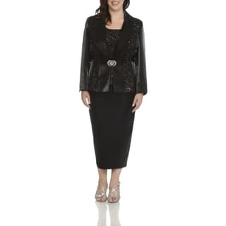 Giovanna Signature Women's Plus-size White/Black/Silver Polyester and Rayon Lace and Sequins Trim 3-piece Skirt Suit|https://ak1.ostkcdn.com/images/products/12971828/P19720262.jpg?impolicy=medium