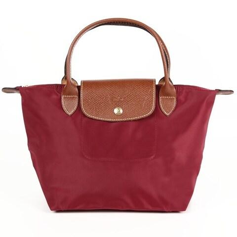 Longchamp Le Pliage Red Nylon Foldable Shoulder Tote Bag