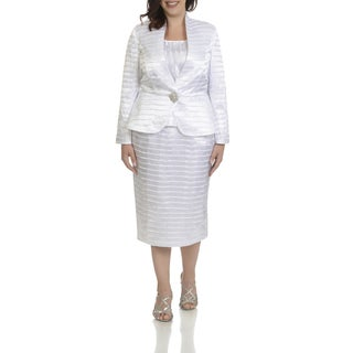 Giovanna Signature Women's White Polyester Plus Size Pleated 3-piece Skirt Suit