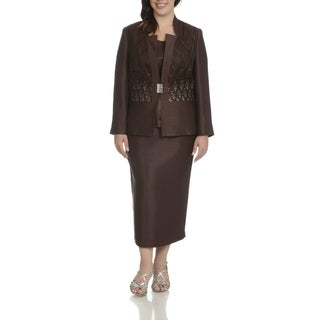 Giovanna Signature Women's Plus-size Brown polyester and Rayon Rhinestone-embellished Lattice Inset 3-piece Skirt Suit
