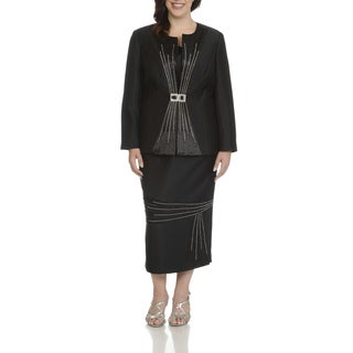 Giovanna Signature Women's Black Polyester Plus-size Rhinestone-embellished Pleated 3-piece Skirt Suit