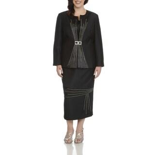 Giovanna Signature Women's Black Polyester Plus-size Rhinestone-embellished Pleated 3-piece Skirt Suit