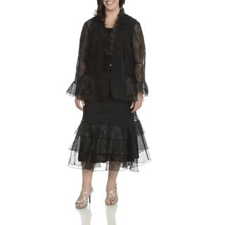 Giovanna Signature Women's Plus-size White or Black Polyester Soutache and Ruffle 3-piece Skirt Suit|https://ak1.ostkcdn.com/images/products/12971900/P19720268.jpg?impolicy=medium